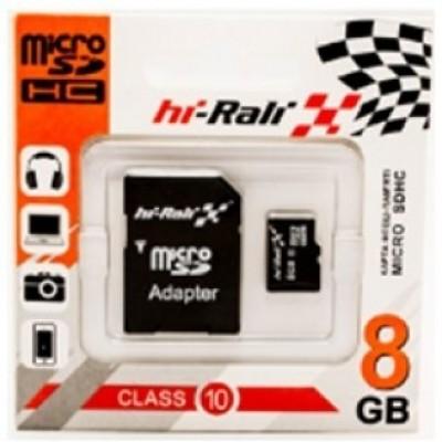 Картка пам'яті 8GB HI-RALI microSDHC Class 10 + adapter