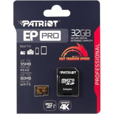 Картка пам'яті 32GB PATRIOT micro UHS1  80MB/S Class 10 + adaptor