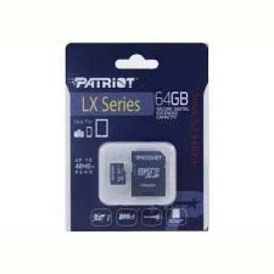 Картка пам'яті 64GB Patriot microSDXC (UHS-1) LX Series Class 10+ adaptor