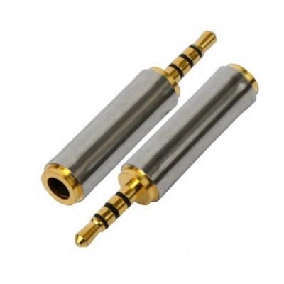 Перехідник штекер 2.5*4x/гніздо 3.5 Gold метал