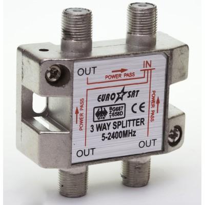 Сплітер 1/3 EuroSAT Cable 5-2400MHZ (прохідний)