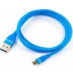 Шнур miсro USB 1м , сітка синій