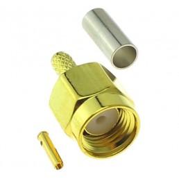 Штекер RP-SMA plug (RG-58)  обжимний  позолочений (Латунь)
