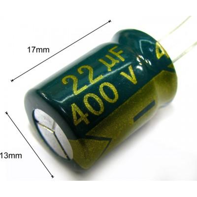Конденсатор 22мкф 400в 105С   13х17 мм