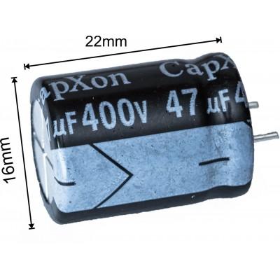 Конденсатор 47мкф 400в 105С    16x22 мм