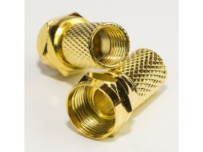 Штекер F для кабеля  # 6.5х20 gold латунь