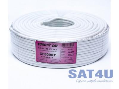 Кабель ТВ RG-6+96/6.8  EUROSAT (100m) білий