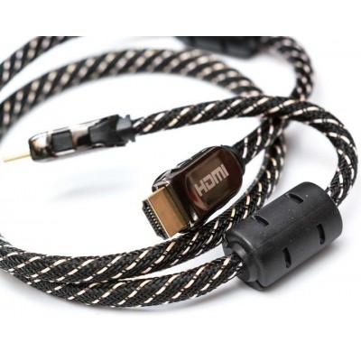 Шнур HDMI/HDMI GOLD V-1,3 діам ( 7мм) фільтр+коробка 2м.
