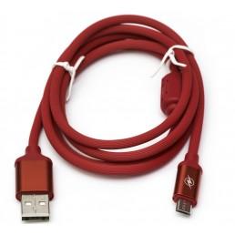 Шнур штекер USB А /шт.miсro USB з фільтром 1м ,  червоний