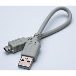 Шнур штекер USB(A)/шт.mini USB 5pin, v 2.0  3.5mm, сірий (0.1m)