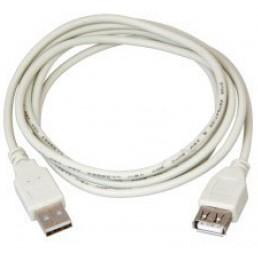 Шнур USB (шт.А - гн.А), V2.0, діам.-4,5мм, сірий, 3.0м