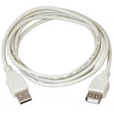 Шнур USB штекер А - гніздо А V2.0 діам 4.5мм сірий 3.0 метра