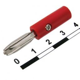 Штекер Banan, п\гвинт, корпус пластик,(червоний)