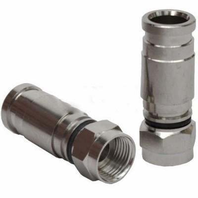 Штекер F для кабеля RG-6, компресійний (метал), мідь