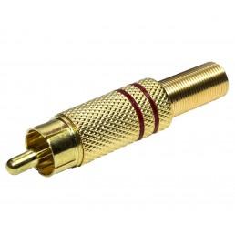 Штекер RCA GOLD метал пружина  (червоний) 6.5mm