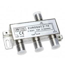 Сплітер/TAP EUROSAT 2-10/  #-10dB 2-WAY 5-1000MHz